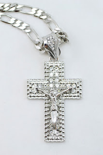 ICED OUT CZ Silver Cross jesus BLING HIP HOP PENDANT 24''CHAIN JEWELRY NECKLACE