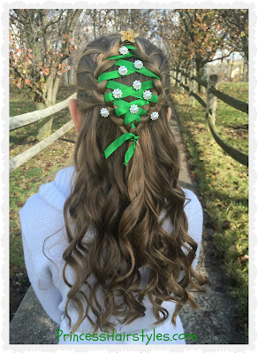 Holiday hairstyle. Braided Christmas tree with ribbon.