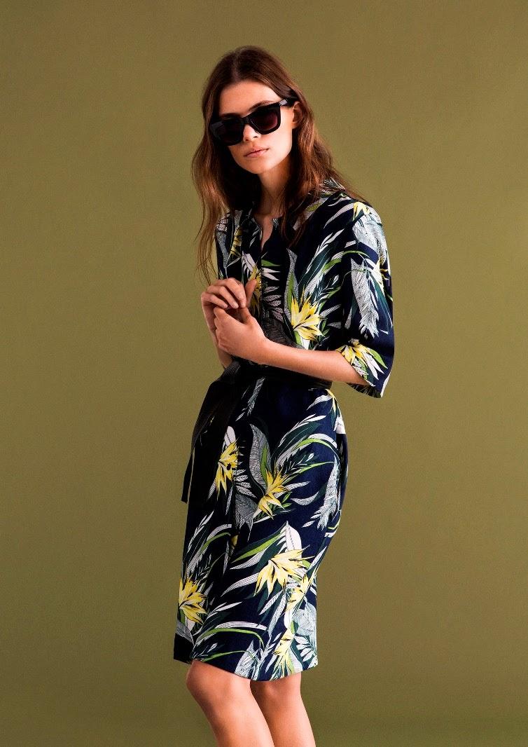 Warehouse SS15 tropical print shirt dress