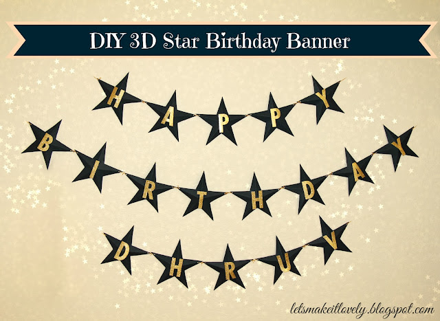 DIY 3D Star Themed Birthday Banner. Party Decor. Party Ideas.