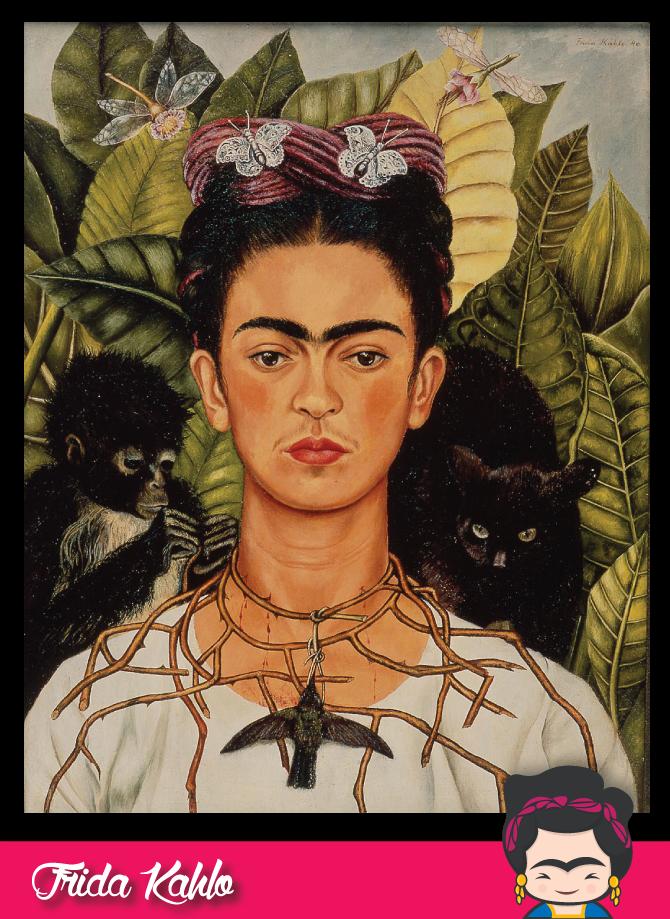 Frida Kahlo Autorretrato con collar de espinas y colibrí