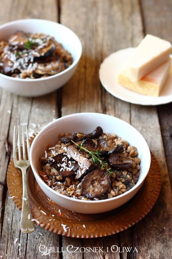 risotto z grzybami pszenica farro peczotto