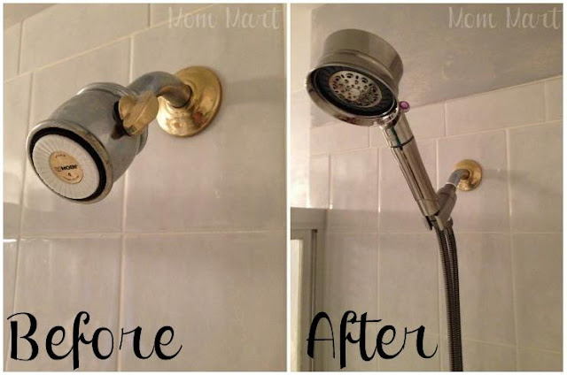 Before and After of the T3 Source Shower Filter Hand Held Shower Head