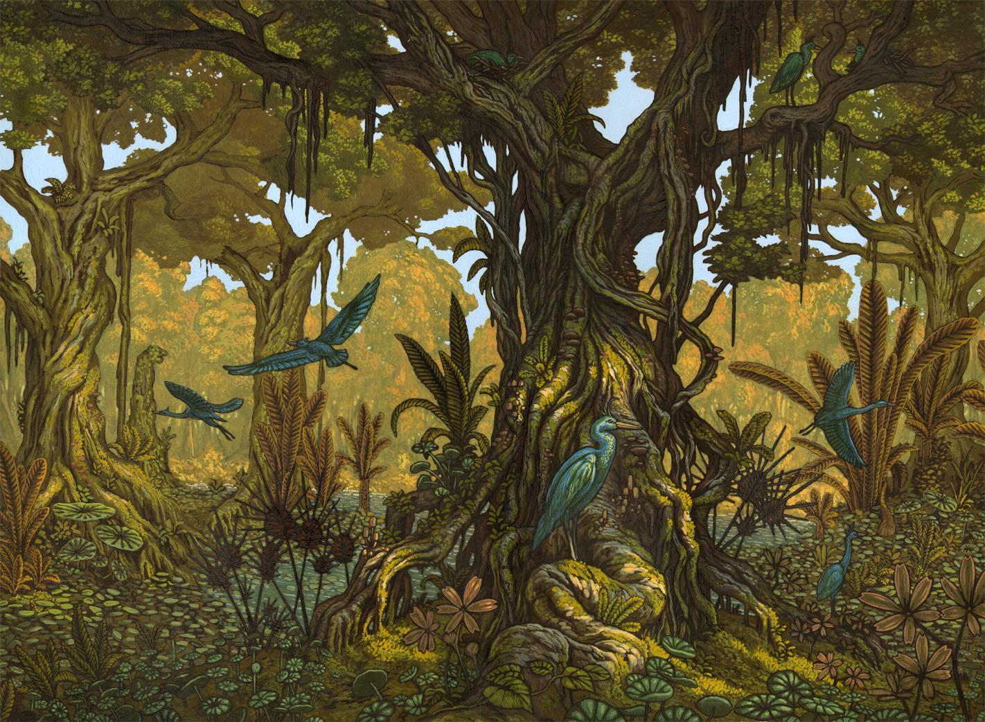simlac illustrateur l 39 arbre au oiseaux bleus. Black Bedroom Furniture Sets. Home Design Ideas