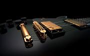 Achtergrond met een zwarte gitaar met goud . HD gitaar wallpaper