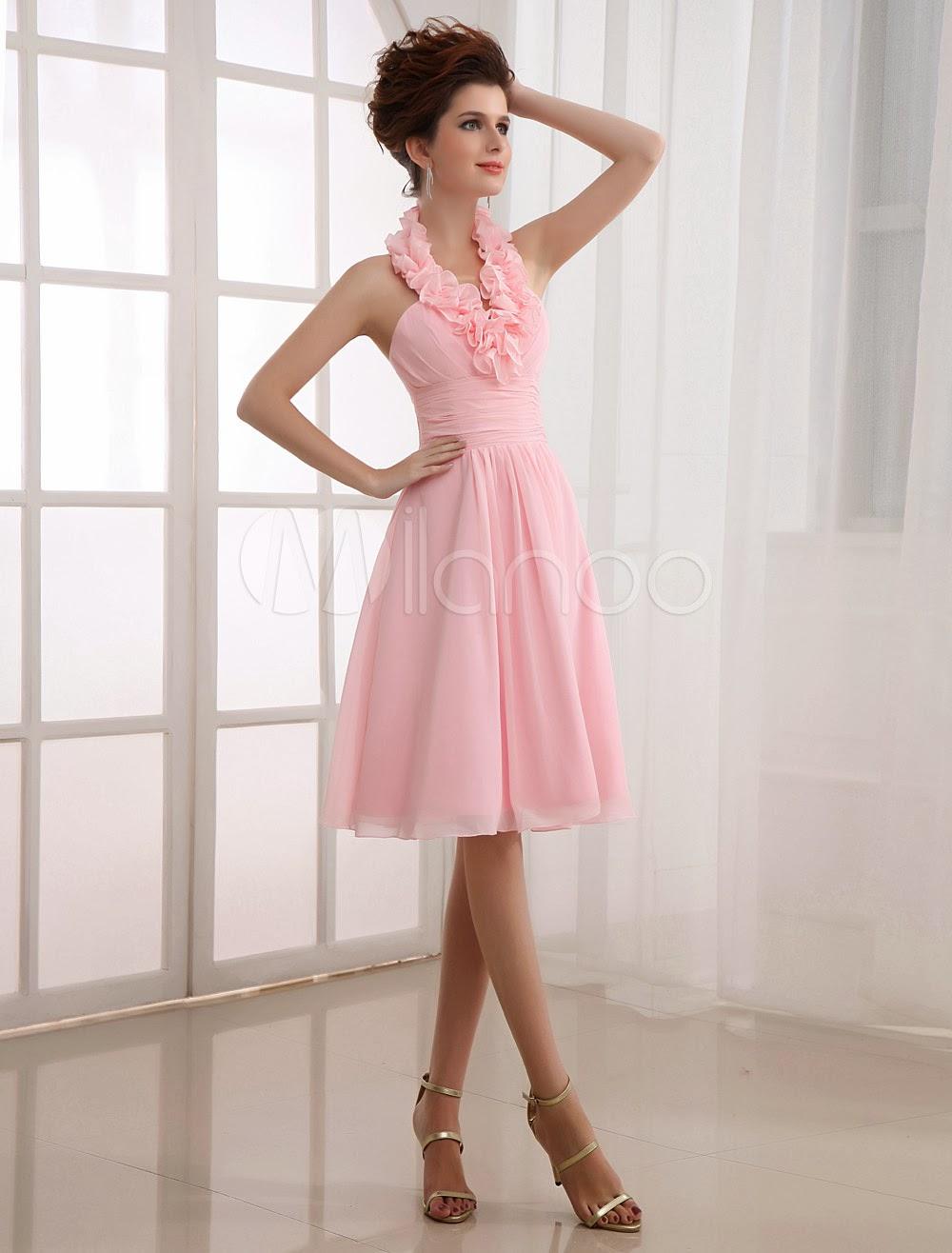 China Wholesale Clothes - Pink Halter Chiffon Knee Length Womens Bridesmaid Dress