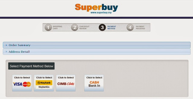 Payment methods available at Superbuy