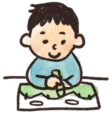 お絵かきをしている男の子のイラスト