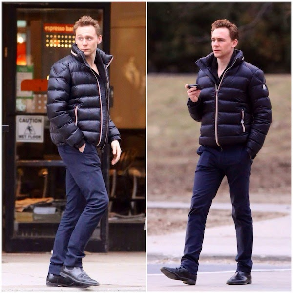 what 39 s he wearing tom hiddleston 39 s moncler 39 gaston 39 jacket toronto street style. Black Bedroom Furniture Sets. Home Design Ideas