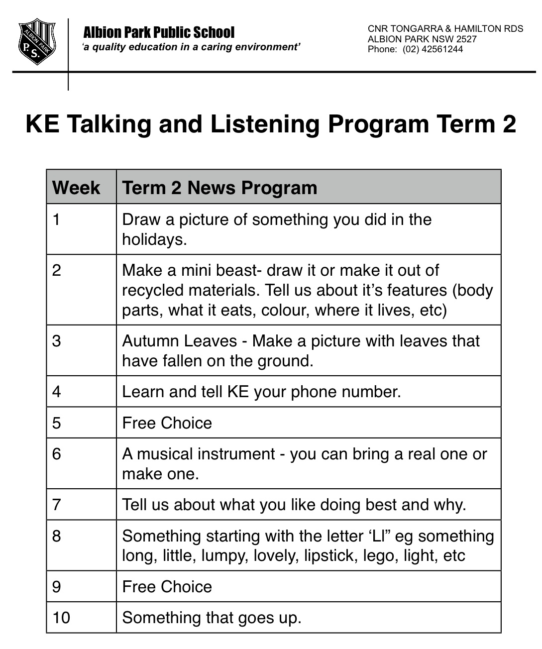 KE Kindergarten: KE Term 2 News (Show and Tell) Program