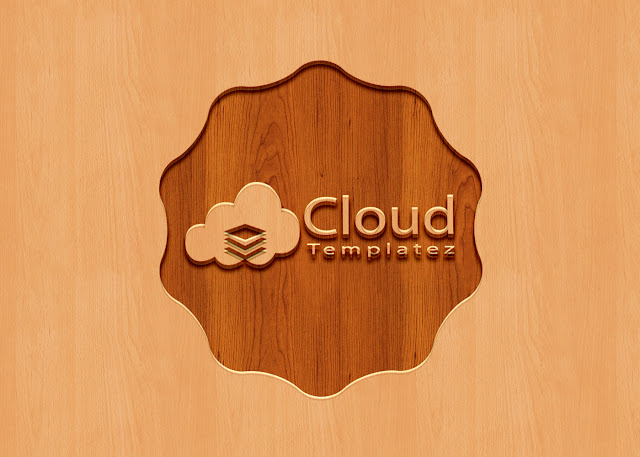 Carved Wood Logo Mockup PSD Free