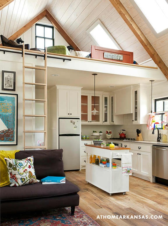 Small Space Layout Bunk Loft Sliding Ladder Tiny Cottage Interior