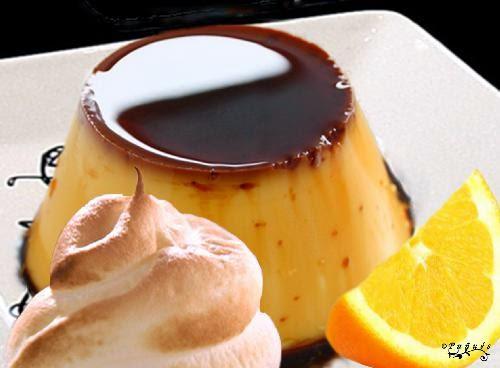 flan, naranja, brandy, merengue, azahar, huevos, recetas caseras, recetas, postres,