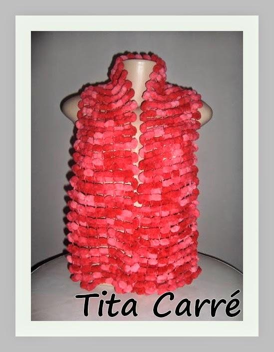 cachecol em tricot rosa