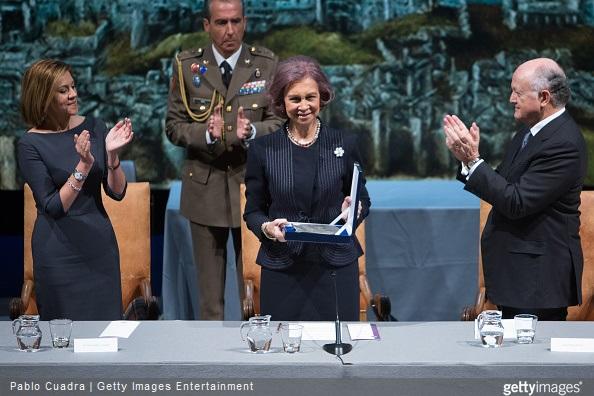 Maria Dolores de Cospedal and Queen Sofia of Spain attend the awards of the 'Real Fundacion de Toledo' at the 'El Greco' auditorium