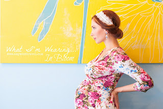 Fashion and Travel Blogger Amy West features this Floral Maternity Maxi from Pink Blush Maternity on her latest outfit post.
