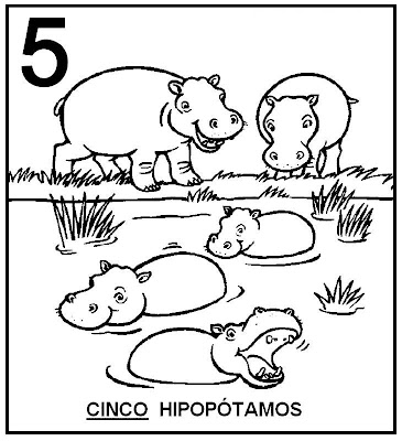 Atividades com Numerais - Hipopótamos para colorir