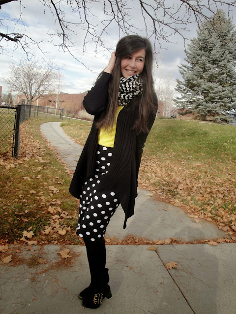 polka dot, polka dot skirt, forever 21, forever21, f21, jcrew, jcrew style, deb shops, boots, ankle booties, ankle boots, black cardigan, ruffle cardigan, layered look, layered outfit, chevron,