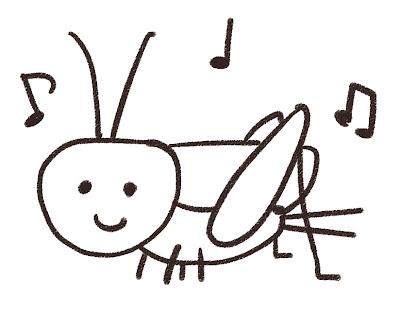 コオロギのイラスト(虫) モノクロ線画