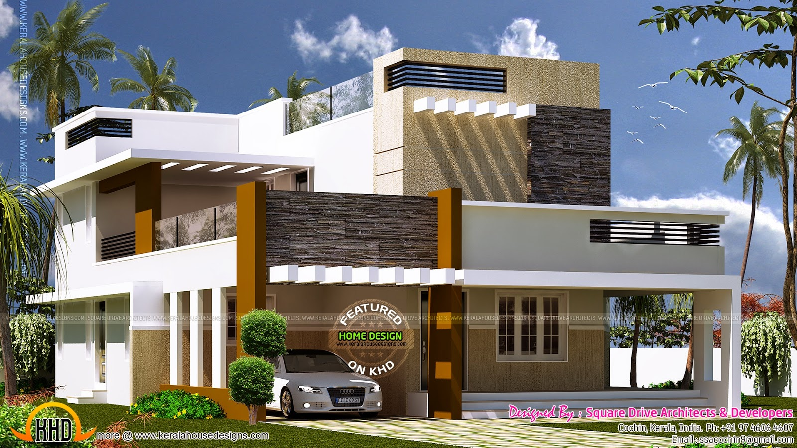 Exterior design of contemporary villa kerala home design for Normal house front design