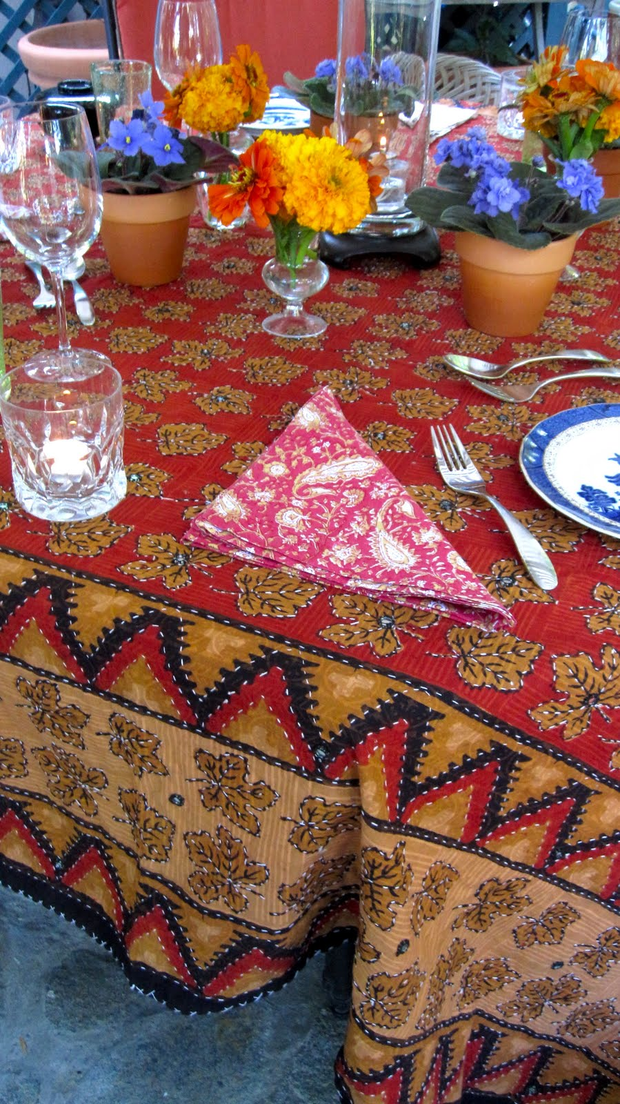 I especially like the cushions on the chairs in Sunbrella Trax/Persimmon. A bright way to see the close of summer. Make summer last a little longer! & Joe Ruggiero Designer/ HGTV Host: Indian Themed Dinner With Bright ...
