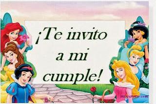 Invitaciones de Cumpleaños, Princesas Disney, modelo 4