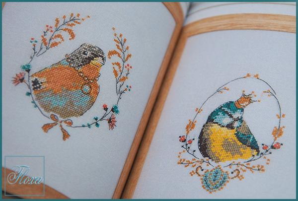 вышивка птицы, портрет птиц, птица в короне вышивка