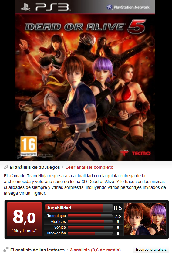 Dead or Alive 5 [PS3][3.55][Esp]