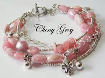 gemstone bracelet of rhodochrosite