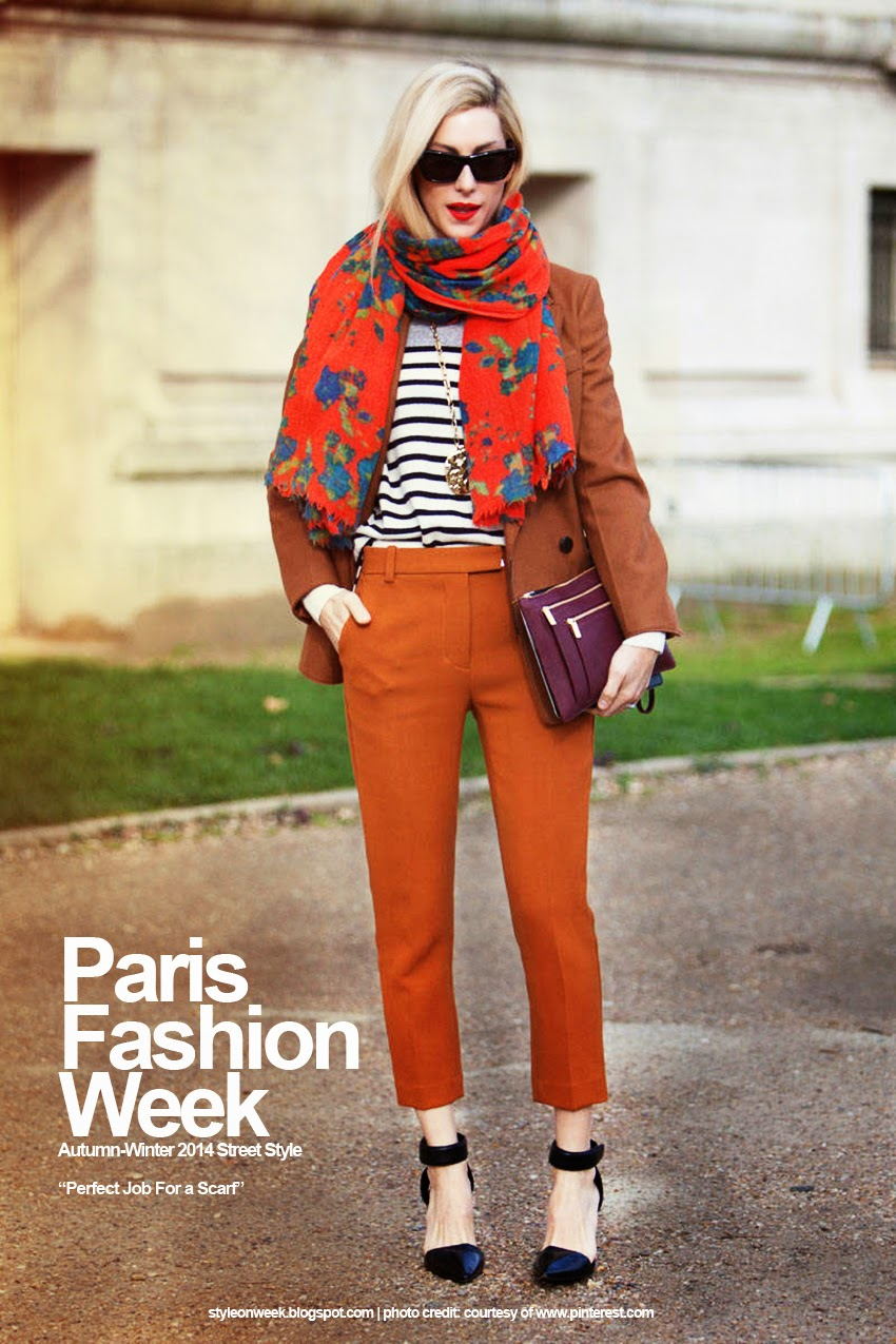 Paris Fashion Week Autumn-Winter 2014 Street Style - Perfect Job For a Scarf