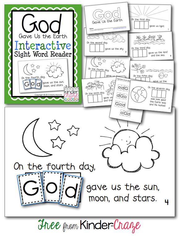 Earth sight activities Day Filled Emergent Freebies: Faith word for An and  Reader