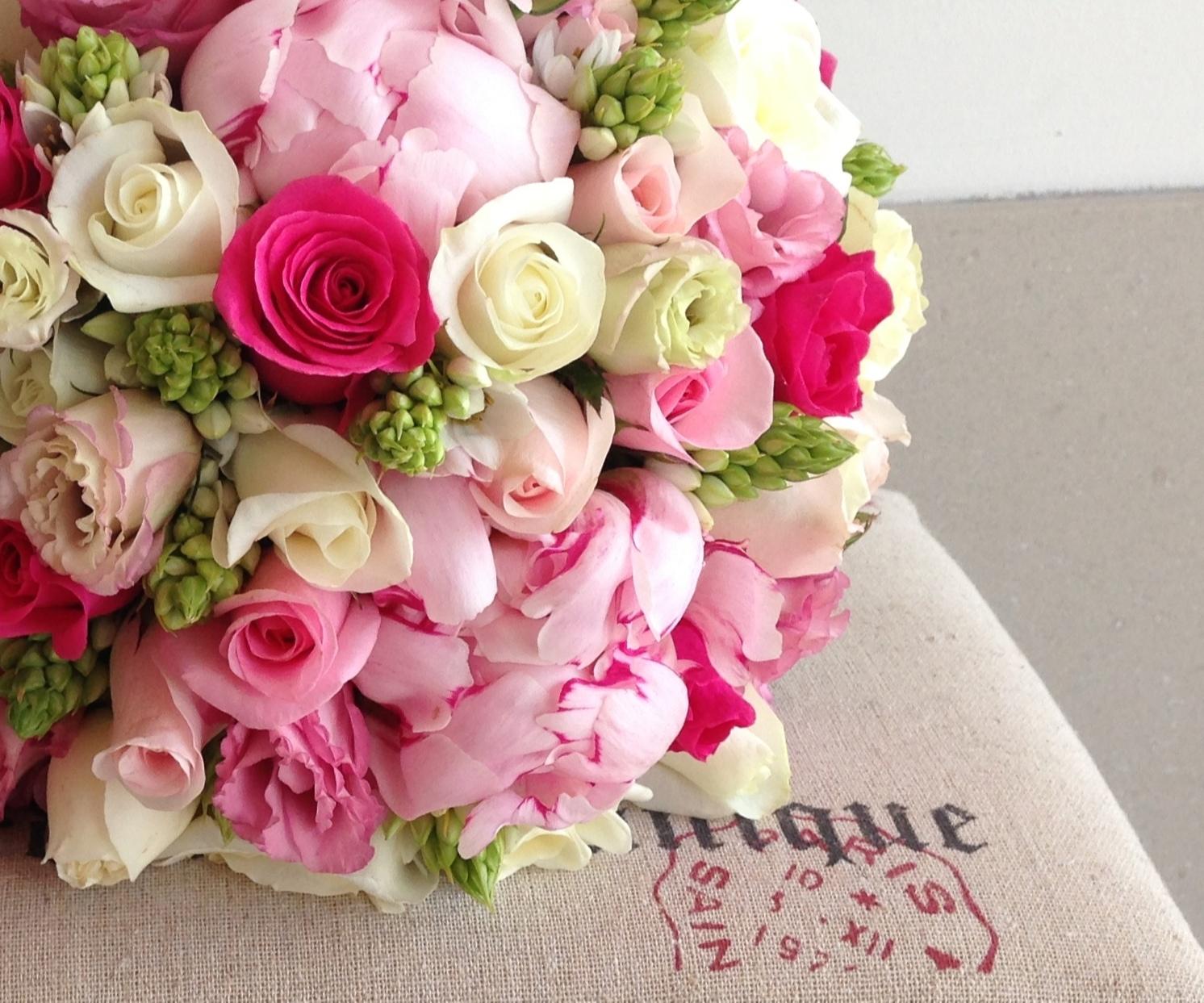 Beautiful Blooms Wedding Bridal Bouquet Peonies Roses Lisianthus