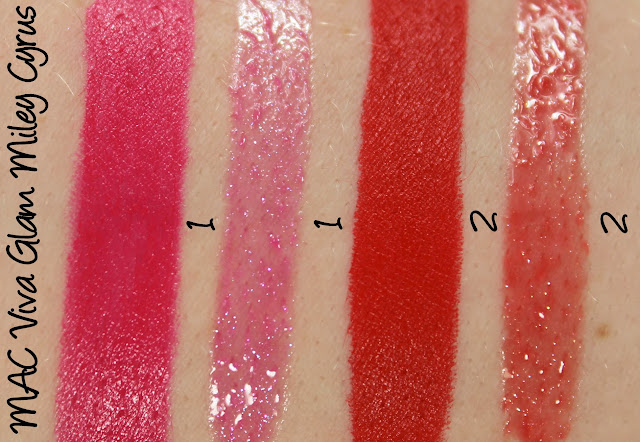 MAC Viva Glam Miley Cyrus 1 & 2 Lipstick and Lipglass Swatches & Review