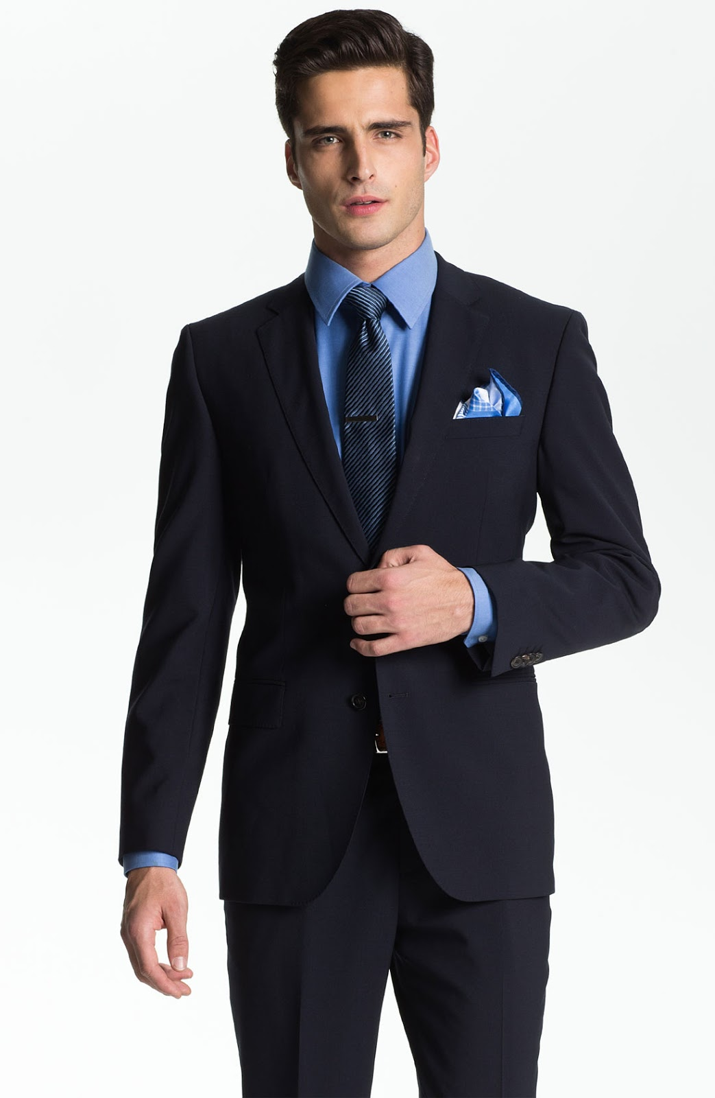 BOSS Black 'Jam/Sharp' Trim Fit Navy Stretch Wool Suit ...