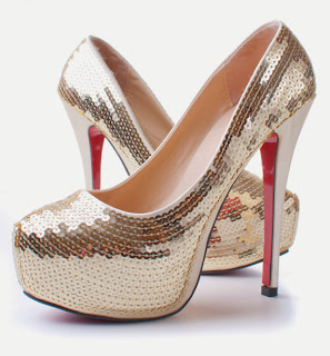 Sequin covered platform pumps