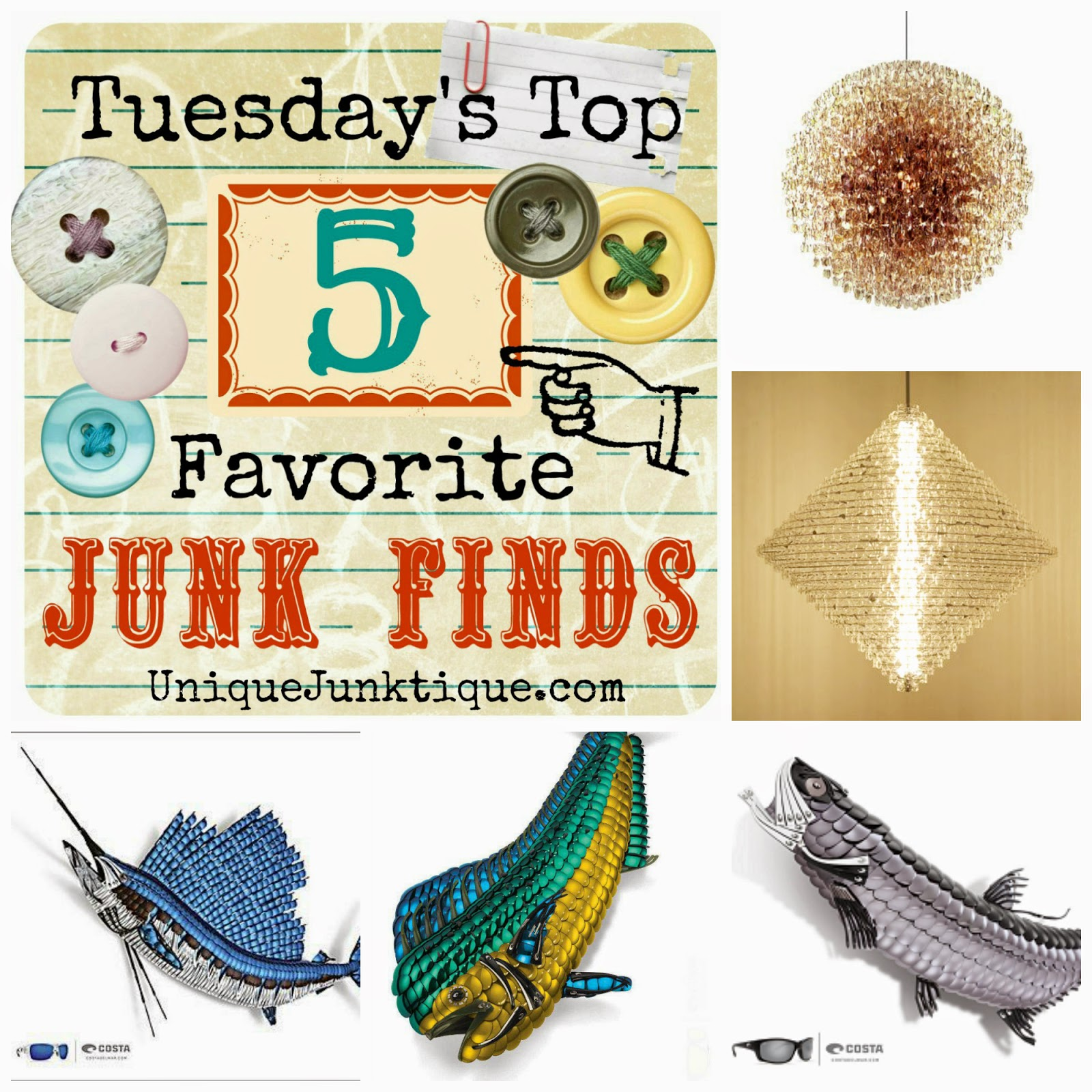 Tuesdays Top Five Favorite Junk Finds #27 featuring Optical Lens Art Sculptures