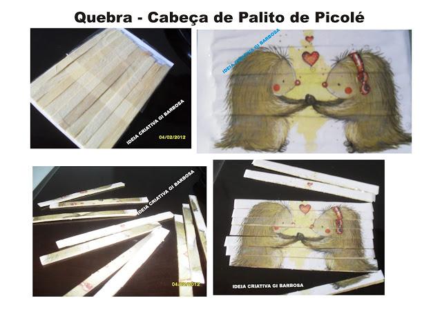 Quebra Cabeça Palitos de Picolé/ Fazendo Arte