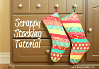 make your own Christmas stocking using fabric scraps