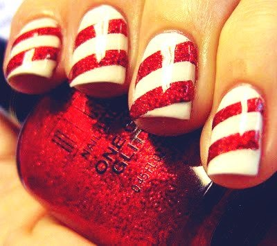 red stripe nails