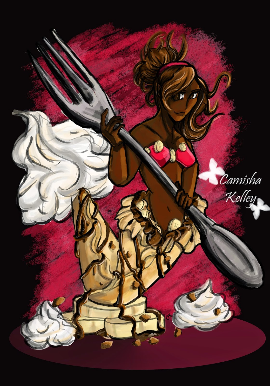 nutella and bananas crepe inspired pin up illustration