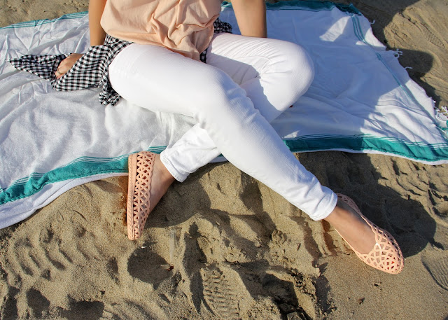 J.Crew White Jeans and Meduse Jelly Sandals