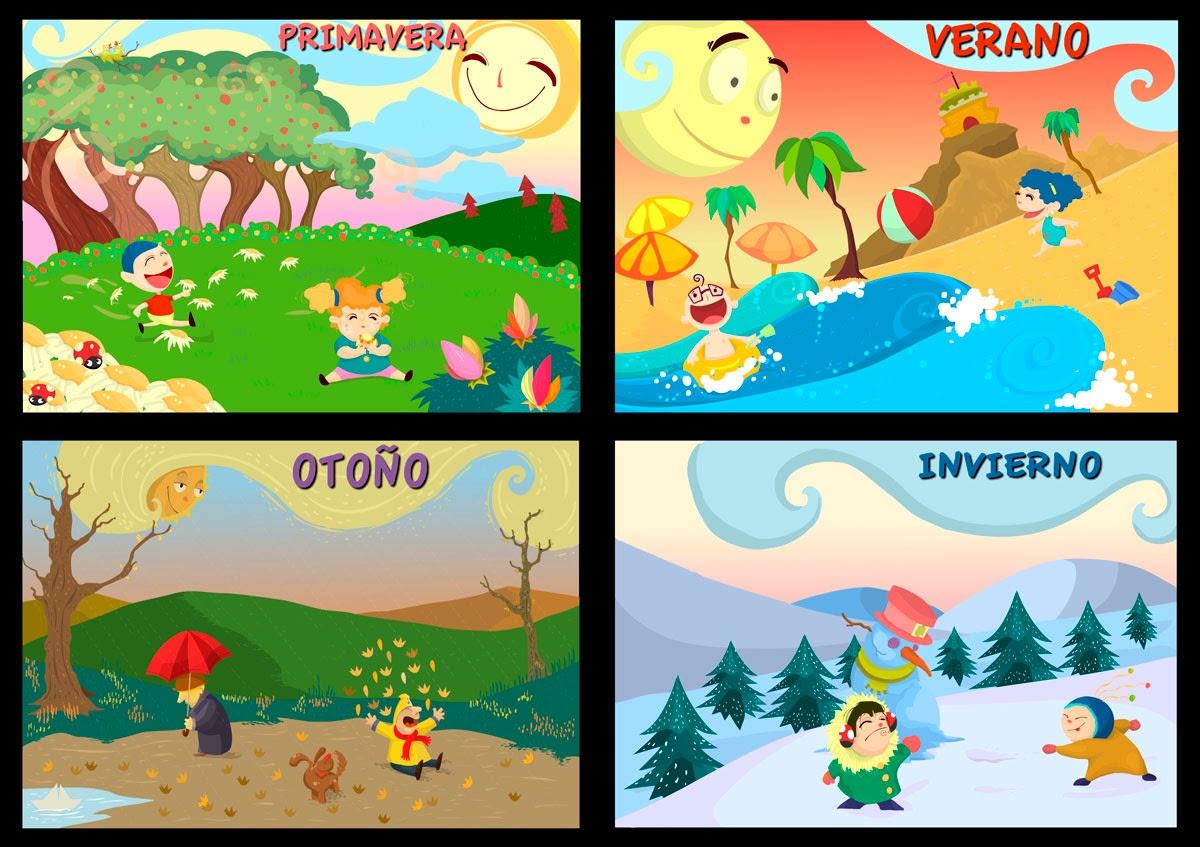 Las estaciones del Año para Colorear | Para niños