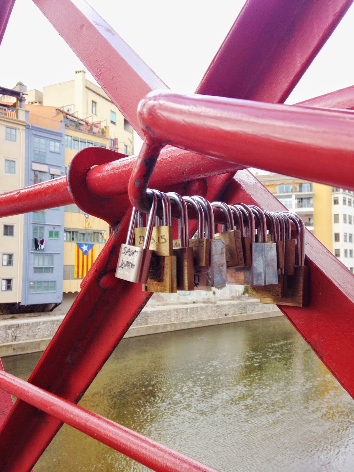 Eiffel Bridge Girona Spain padlocks
