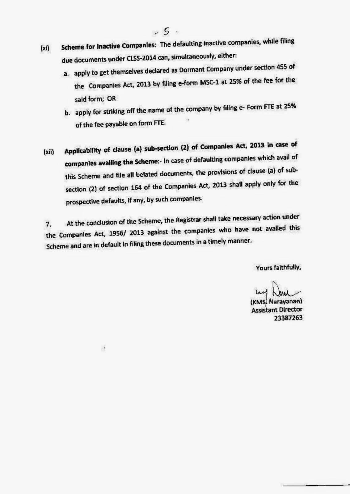 company law settlement scheme 2011 Company law settlement scheme, 2014 p o ste d da te : 14-aug-2014 , 07:52:19 notific ation detail : general circular no 34/2014 f no 02/13/2014 cl-v.