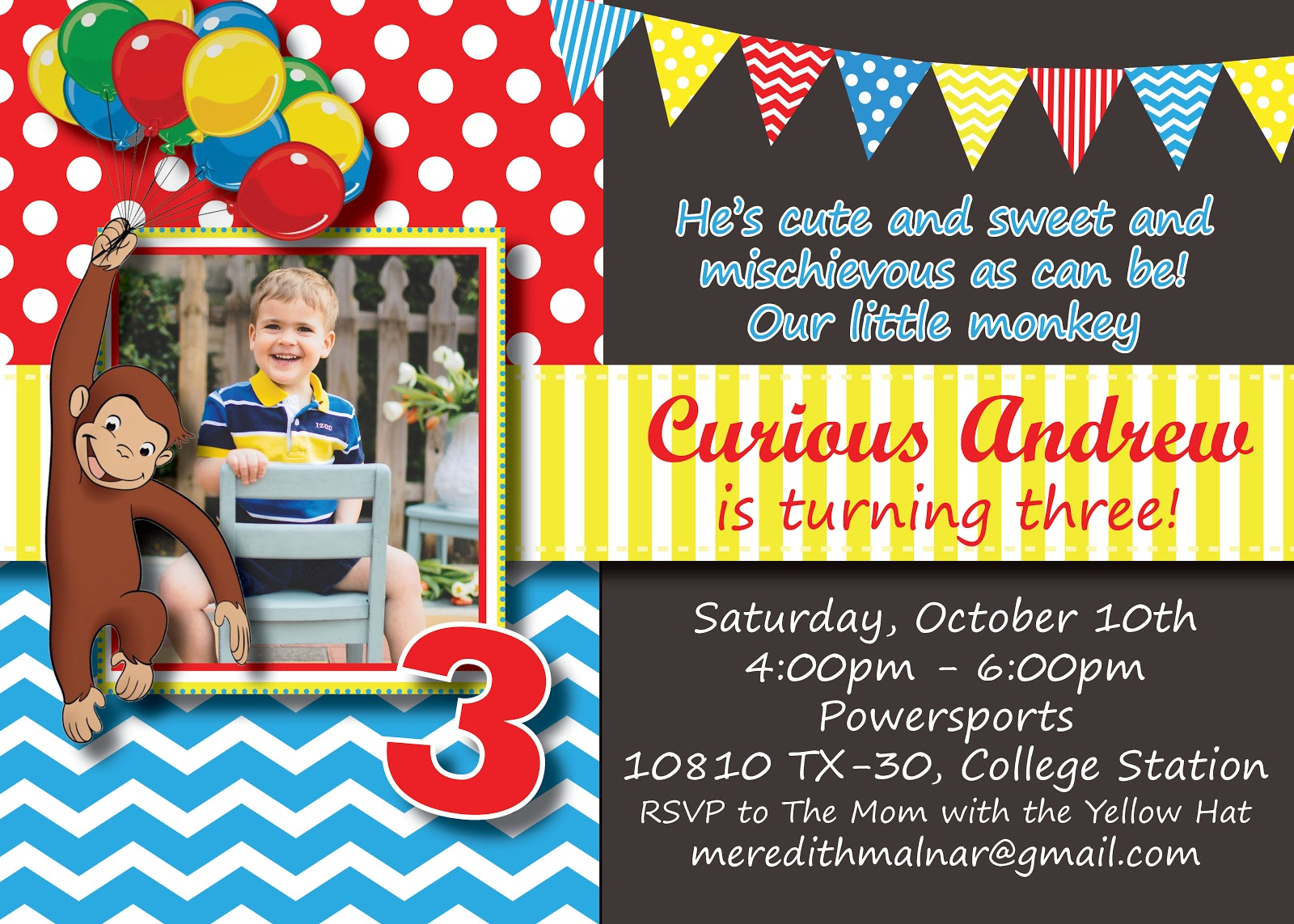 the malnar family andrew's curious george birthday party, Birthday invitations