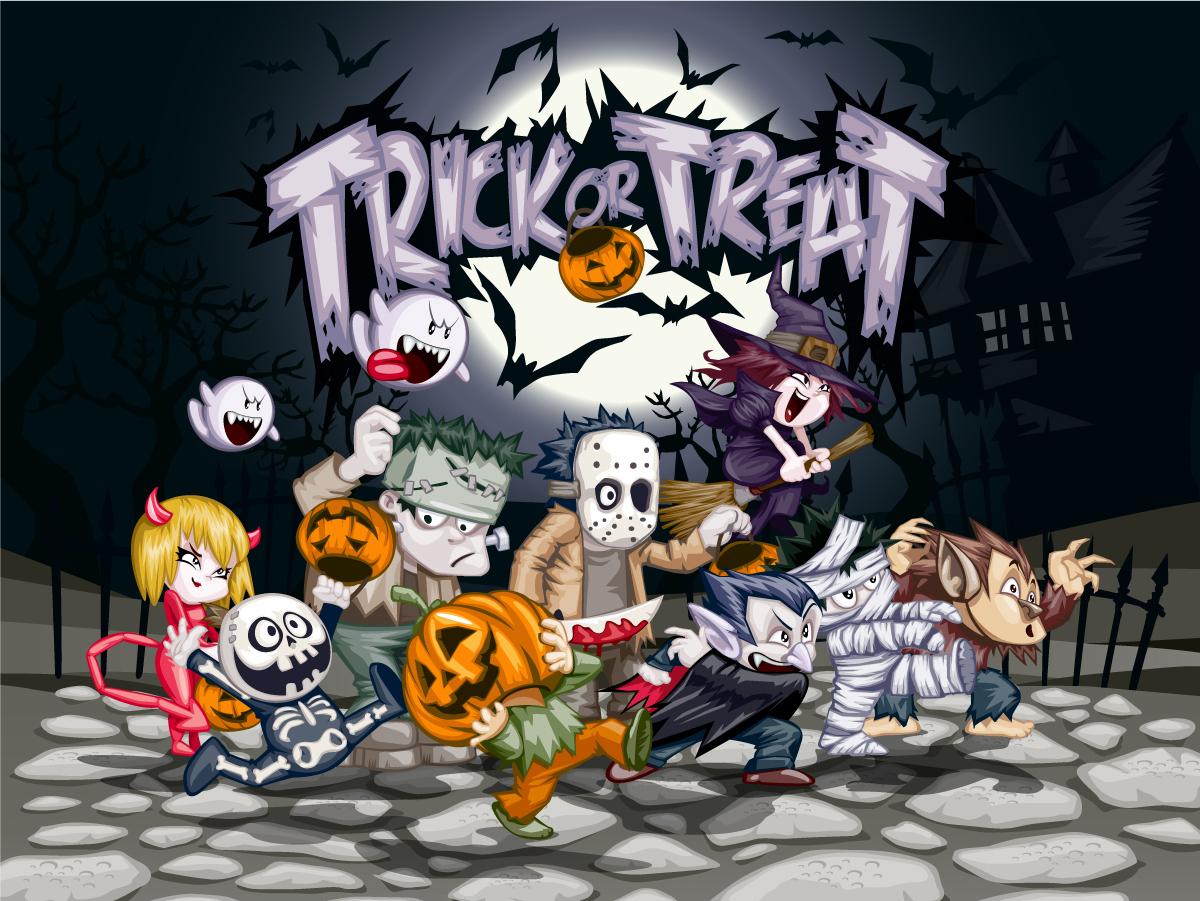 漫画で描いたハロウィン パーティの背景 Vector cartoon halloween イラスト素材
