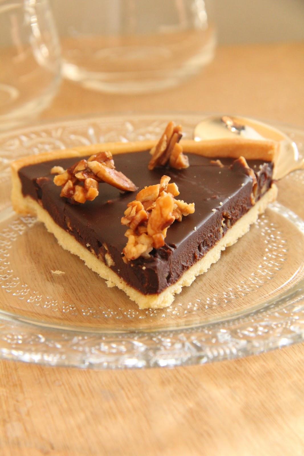 On dine chez nanou tarte au chocolat ganache sans cr me et amandes caram lis es - Tarte au chocolat sans oeuf ...