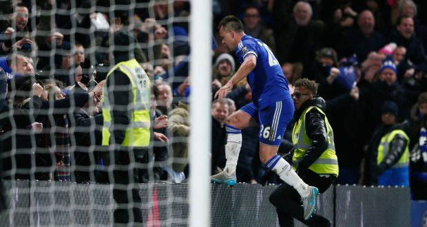 John Terry scored in the 98th minute to salvahe Chelsea a point against Everton. Photograph: Reuters