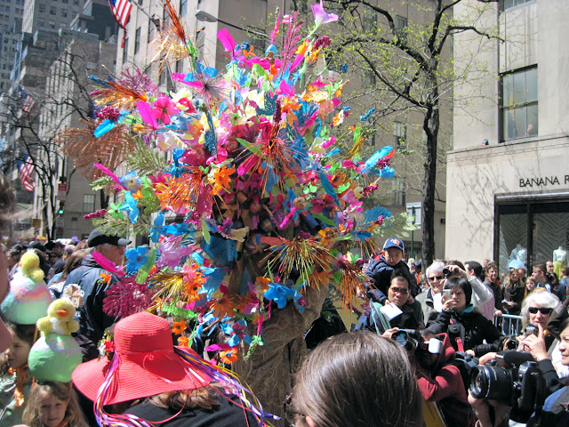 Some people have better head control then we do when they put these Easter bonnets on their head to celebrate the Old New York tradition of the Easter Parade