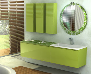 Green Bamboo Flooring Bathroom Wall